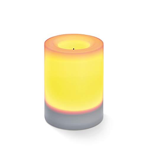 Flammenlose Solar LED-Kerze für Outdoor - (D x H) 75 x 100 mm - unsichtbar integriertes Solarmodul - gelbe LED mit Flackerlicht - Party Kerzenlicht Solarleuchte esotec 102231