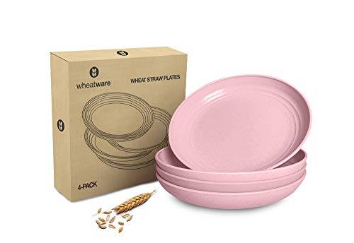 "Wheat Straw Plates + Online Cookbook - 4 Pack - 8.8"" Eco-Friendly Dinner Plates - Wheatware Kids Plates Dishwasher and Microwave Safe - Unbreakable Dinnerware for Toddlers, Adults, & Pets (Pink)"