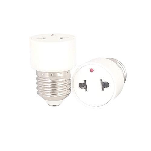 YinzPlus 2 piezas por paquete 2 años de garantía Adaptador de enchufe de lámpara LED E27 Soporte de lámpara a enchufe