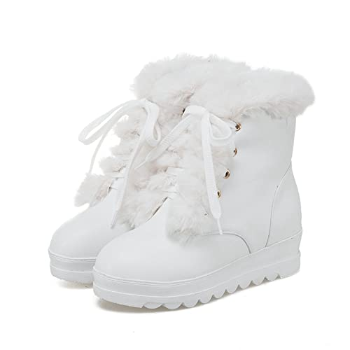 Women Platform Lace Up Snow Boots Warm Plush Fashion Faux Fur Round Toe Outdoor Winter Ankle Booties