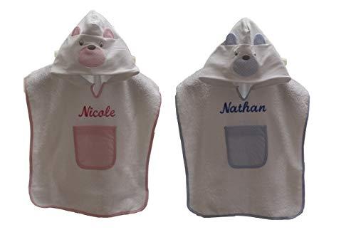 Asciugamano Con Cappuccio Neonato - Morbido Accappatoio Poncho in Spugna Cotone Personalizzato con Nome Ricamato (rosa)