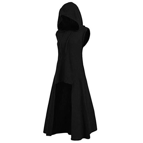 LOPILY Umhang Kleid mit Kapuze Vokuhila Cape Vampir Kostüm Halloween Erwachsener Damen Cosplay...