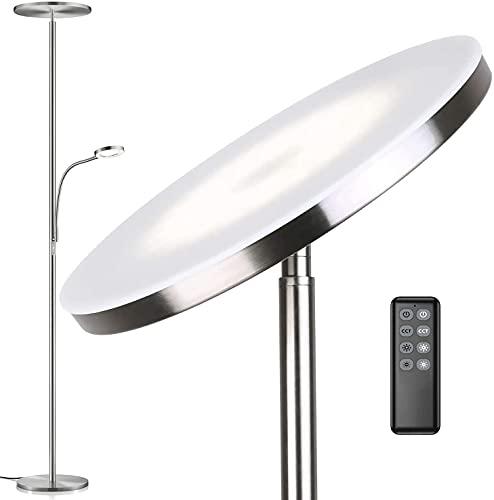 Anten Deckenfluter Klara mit Leselampe | Nickel matt | 30W dimmbare Led Stehlampe mit Fernbedienung | 3 Lichtfarbe | Helligkeit stufenlos einstellbar | helle Stehlampen für Wohnzimmer Büro.