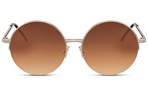 Cheapass Gafas de Sol Gryes Redondas Semi Metal Sunnies Montura Dorada con Lentes Graduales Marrones protección UV400 Woman