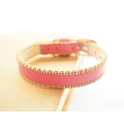 Collar cosido a mano, cómodo y resistente al desgaste, collar de peluche para mascotas (color: rosa, tamaño: grande)