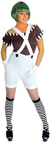 Ladies 5 Piece Sexy Oompa Loompa Dungarees with Wig Book Week Halloween Fancy Dress Costume Outfit UK 8-26 Plus Size (UK 16-18) White