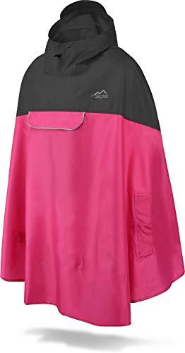 normani Unisex Regenponcho - Wind und Wasserdicht mit Bauchtasche, 3M Refelktoren und seitlichen Eingriffen Farbe Schwarz/Pink Größe L