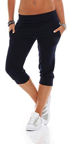 Gennadi Hoppe Damen 3/4 Trainingshose Sporthose Kurze Hose Sport Fitness Jogginghose Shorts Barmuda, blau,XL