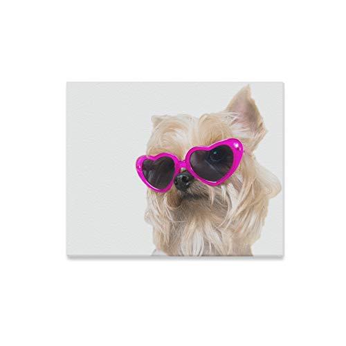 XiexHOME Leinwanddruck Sonnenbrille Cooler Hund Tierkunst Wanddekoration Kinderzimmer Wandmalereien Druckdekor für Zuhause 20x16 Zoll