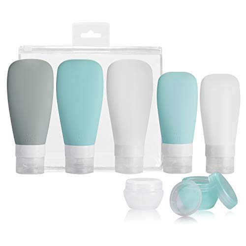Silicone Travel Bottles, Vonpri Leak Proof Squeezable Refillable Travel Accessories Toiletries Containers Travel Size Cosmetic Tube for Shampoo Lotion Soap Liquids (3oz&2oz 5pack)
