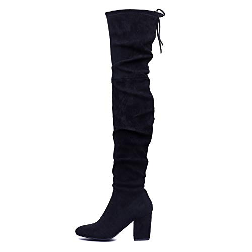 Shoe'N Tale Women Over The Knee High Stretchy Leather Thigh high Snow Boots (8,Black-Slouch)