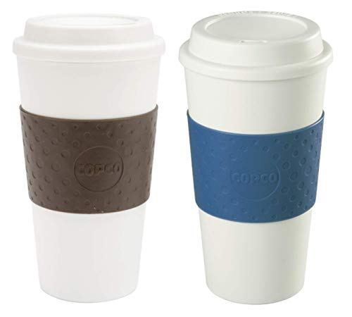 Copco Acadia Double Wall Insulated 16 oz Travel To Go Mug with Non-Slip Sleeve, Set of 2, Commuter Friendly, Drink On the Go (Brown/Blue)