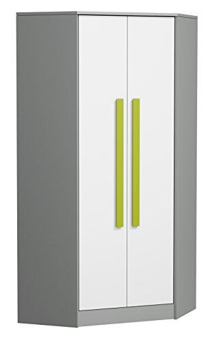 SMARTBett GmbH - Armadio angolare GIT grigio/bianco/verde