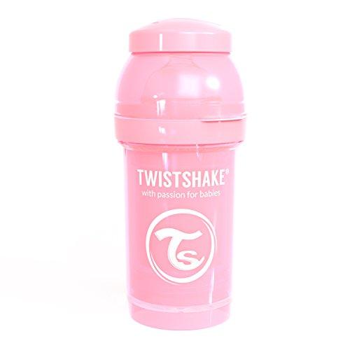Twistshake 78249 Anti-koliek fles 180ml met mixer en doseerdoosje, Pastelroze