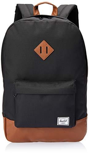Herschel Heritage Fabric Rucksack, schwarz, braun, 38,1cm, Fronttasche, Handytasche, Reißverschluss