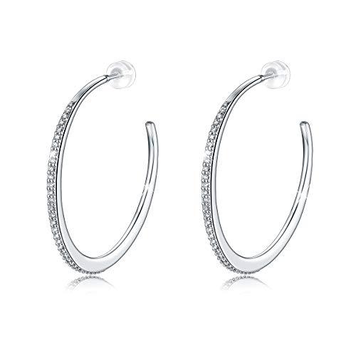 Open Creolen Ohrringe, 925 Sterling Silber Shinning Mond Stern Zirkon Kreis Ohrhänger für Frauen Mädchen, Hypoallergen Ohrringe für Empfindliche Ohren Durchmesser 5cm