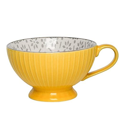 Getränkebecher Kaffeetasse,Keramik Big Belly Becher mit Milchtasse Anti-Verbrühungs-Kaffeetasse Haushaltsmilch Tee Obsttasse Müslibecher Gelb Blau Kaffeetassen (Color : A) Tassen