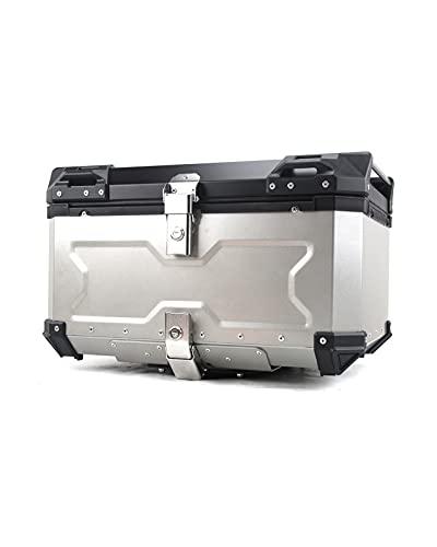 Caja De Aleación De Aleación De Aluminio En Relieve De Motocicleta Caja De Equipaje De Troncales 65L Caja De Almacenamiento De Caja De Cola De Vehículo Eléctrico Grande ( Color : Silver , Size : 55L )