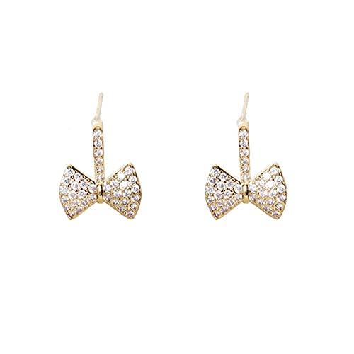 S925 Pendientes de lazo de diamante de aguja de plata Flash Dulce temperamento de viajero Personalidad Pendientes simples Pendientes de moda