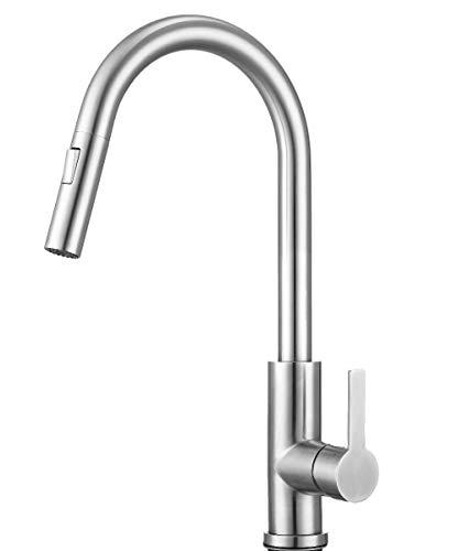 Mizzo Edelstahl Wasserhahn mit ausziehbarer Brause - 100% Edelstahl Mischbatterie - Hochdruckarmatur Küche - Spülenarmatur Küche - Küchenamaturen