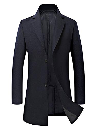 Mordenmiss Men's French Woolen Coat Business Down Jacket Trench Topcoat Navy L