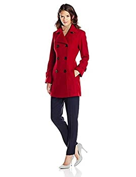 Anne Klein Women s Classic Double-Breasted Coat Red SM
