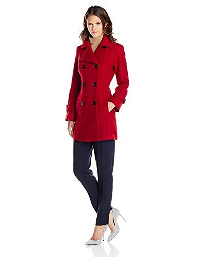 Anne Klein Women's Classic Double-Breasted Coat, Red, LG