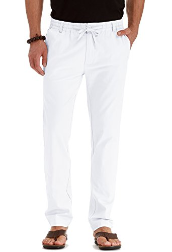Sailwind Men's Drawstring Casual Summer Beach Loose Trousers Linen Pants with Elastic Waistband Pure White-US 32