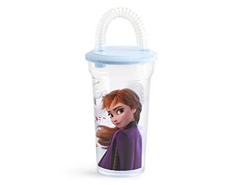 Lulabi Disney Frozen Bicchiere in Polistirene, con Cannuccia, 40Cl