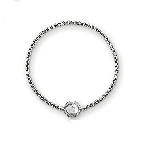 YITIANTIAN Pulseras ennegrecidas Karma Wheel Link Chain 925 Joyería de Moda de Plata esterlina para Mujeres Hombres Regalo de Moda Fit Cuentas de Estilo Europeo