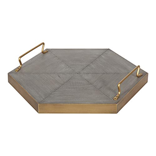 Kate and Laurel Sade Decorative Hexagon Tray with Handles, 16', Concrete Gray and Gold, Modern Tray for Ottoman, Centerpieces, Or Bathroom and Bedroom Decor