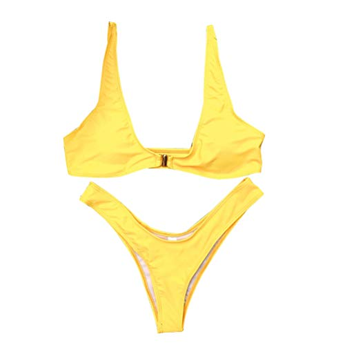 Vosarea Sexy Gold Lock Top Summer Split Traje de baño Empuje hacia Arriba Vendaje Traje de baño para Mujeres niñas (L, Amarillo)