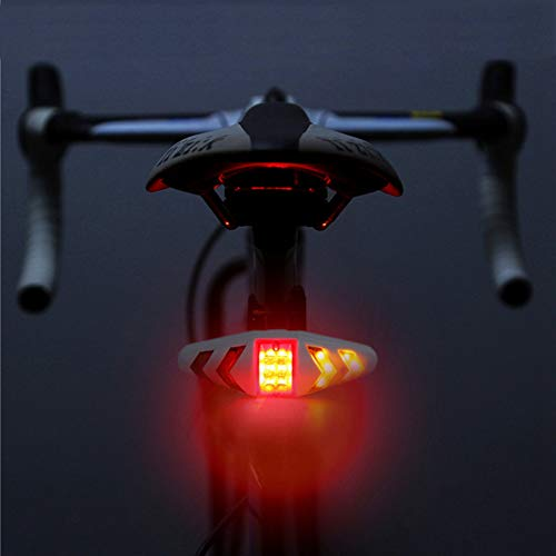 Maso Rechargeable Bike Tail Light LED Bike Rear Turn Signal Lights with Wireless Remote Control Multifunctional Waterproof Cycling Warning Light for Mountain Bike,Road Bicycle(White)