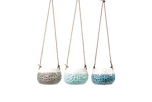 Burgon & Ball Keramik-Hängetöpf Baby-Dotty 3er-Set D7 cm blau/türkis/grau