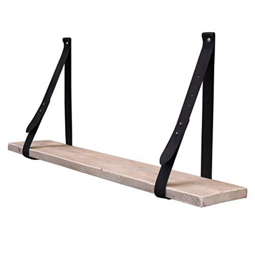 Steigerhoutpassie - Leren plankdrager - Zwart - Set - Verstelbaar - Steigerhout - 100cm