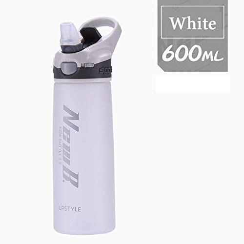 Mdsfe 750 / 600ML Outdoor Travel Portable Drinkware Plastic Whey Protein Powder Sports Shake Bottle, Kettle with Straw - White-600ml