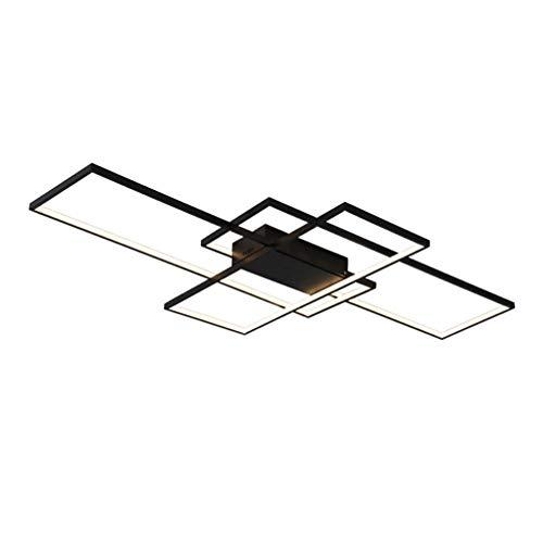 LED Deckenleuchte Dimmbar mit Fernbedienung Wohnzimmerlampe, Modern Eckig 3-Ring Design Acryl Kronleuchter Metall Deckenstrahler für Schlafzimmer Esszimmer Küche Bad Decken Lampe L80*W45*H9cm(Schwarz)