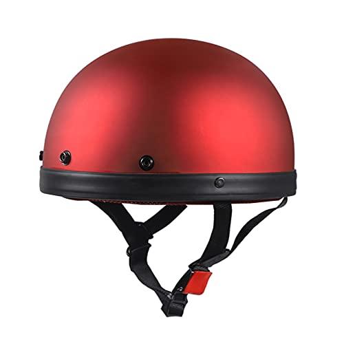 SDKUing Casco de motocicleta de estilo alemán para hombres, casco retro de cara abierta, vintage, medio casco para mujer, aprobado por DOT, casco de motor, scooter, casco Chopper Brain-Cap, 55-62 cm