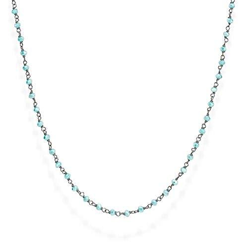 Collana ARGENTO Rodio Nero e Cristalli Azzurro 45cm Collezione Romance CLNT45 LUNGHEZZA 45 CM