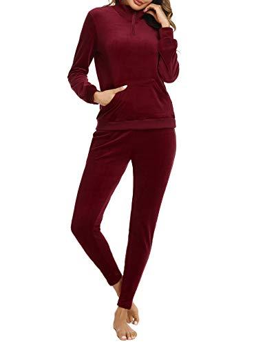 Irevial Damen Velours Hausanzug Fleece Anzug Classic Sweat Suit Trainingsanzug Jogginganzug Streetwear Fitnessanzug Sportanzug Weinrot Small
