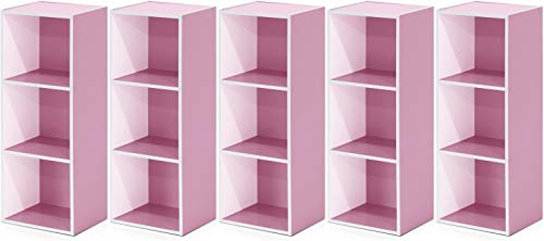 Furinno 3-Tier Open Shelf Bookcase, White/Pink 11003WH/PI - 5 Pack
