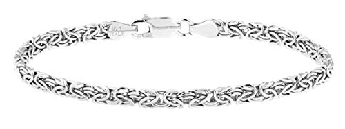 "Miabella 925 Sterling Silver Byzantine Link Chain Ankle Bracelet for Women Teen Girls, 6.5', 7', 7.5', 8' 9"", 10"" White or Yellow 925 Italy (7.5, Sterling-Silver)"