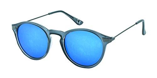 Chic-Net Hochwertige Panto Sonnenbrille rund John Lennon Stil Vintage 400UV Streifen Metallbügel dünn grau