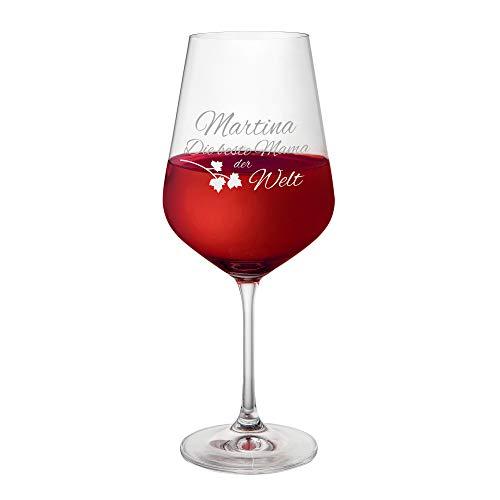 AMAVEL Rotweinglas, Weinglas mit Gravur, Die Beste Mama der Welt, Personalisiert mit Namen, Muttertagsgeschenke, Füllmenge: ca. 500 ml