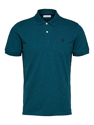 SELECTED HOMME Herren SLHARO SS Embroidery Polo W Top, Detail:Melange Deep Lagoon, M