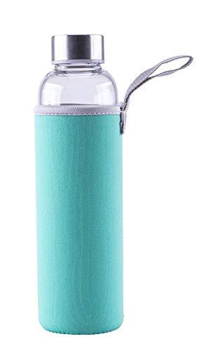 Steuber Glas-Trinkflasche mit Tasche, mit Tragelasche, 550 ml, aus Borosilicatglas, mit Edelstahldeckel/Schutzhülle, für Sport/Büro/Reisen, türkis