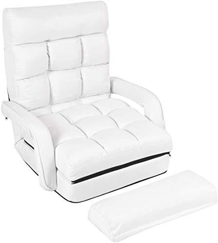 Sillón de lino, respaldo ajustable de cinco velocidades, sofá plegable climatizada, sala de estar dormitorio oficina,White