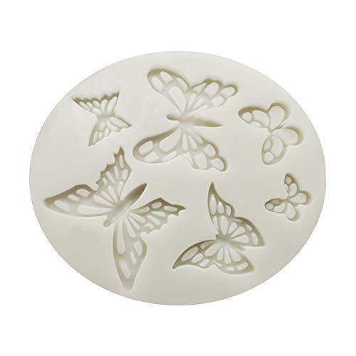 BoBoLily Moldes para tartas, moldes para tartas, 6 cavidades de mariposa, moldes de silicona para fondant, bandeja para hornear