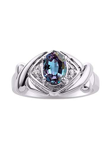 Diamante & Simulado Alejandrita anillo Set en plata de ley – XOXO Hugs & Kisses diseño