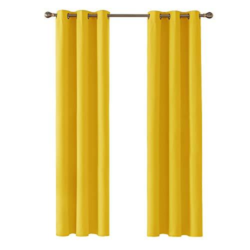 Deconovo Blickdicht Gardinen mit Ösen für Schlafzimmer Thermogardinen Vorhang Blickdicht 229x107 cm Senfgelb 2er Set